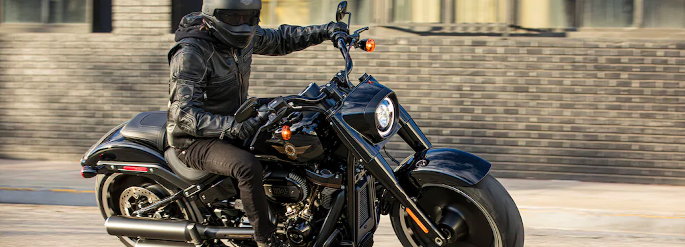 2020 fat boy 114 harley-davidson with rider on it