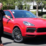 Patrick Posey standing next to the 2021 Porsche Cayenne Coupe in Ontario.