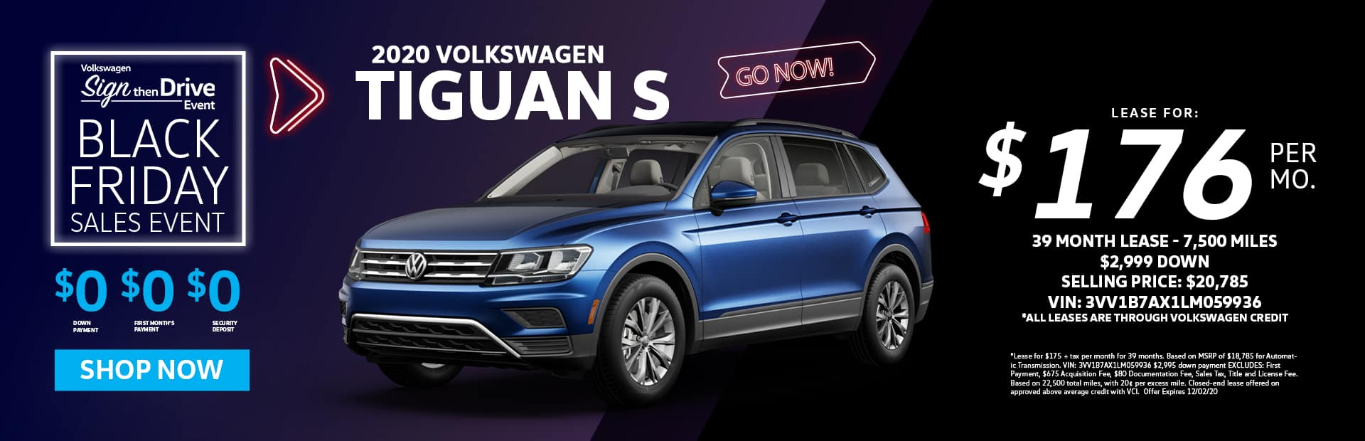 new 2020 tiguan s lease special