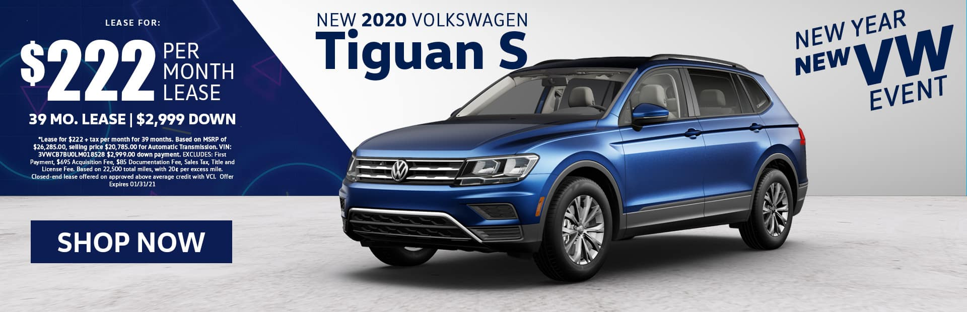 new 2020 vw tiguan s lease special