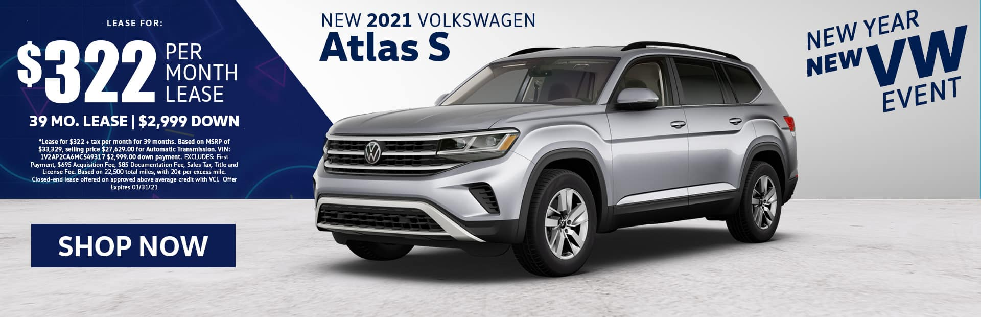 new 2021 vw atlas lease special
