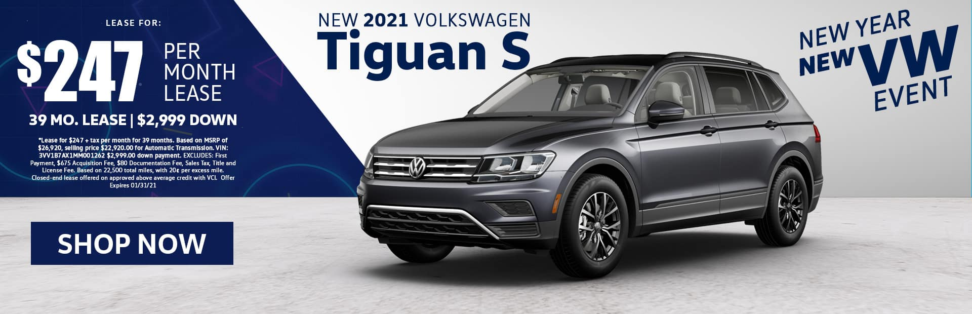 2021 VW Tiguan S Lease Special