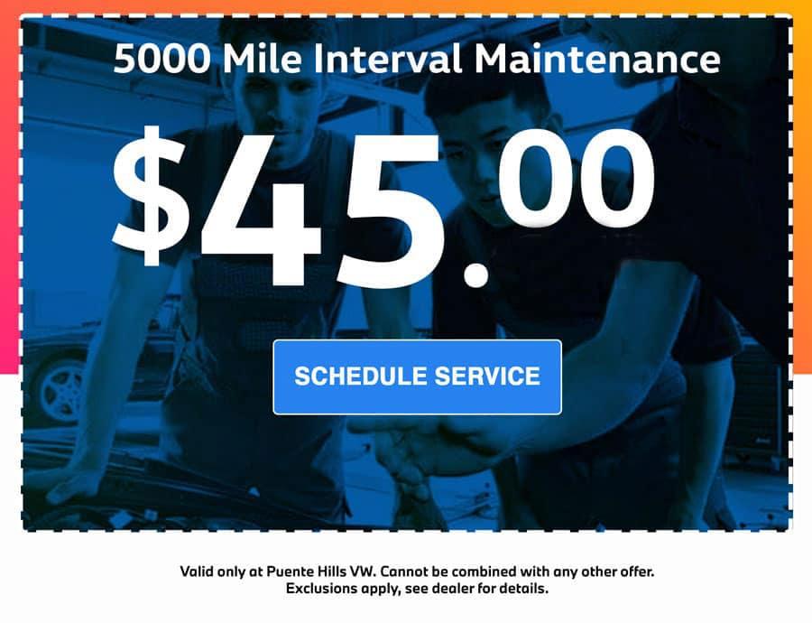 5000 mile interval maintenance