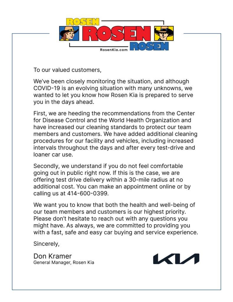 Rosen Kia Milwaukee Response to COVID-19