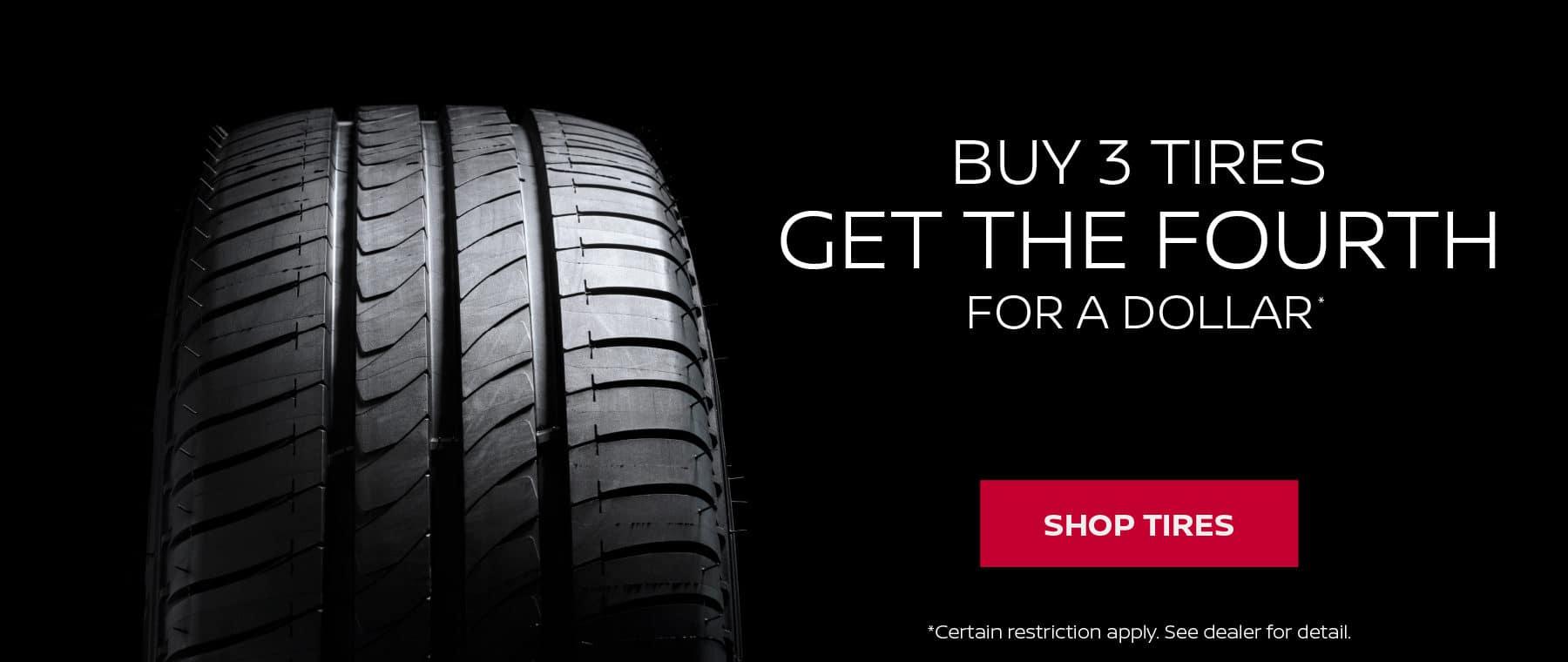 Buy 3 Tires Get 1 for $1 at Rosen Nissan Madison