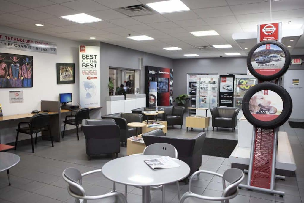 Rosen Nissan Milwaukee Service Center waiting area