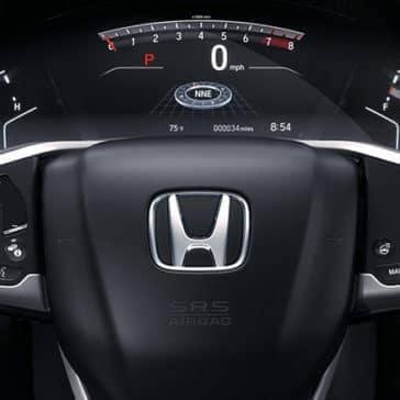 closeup of steering wheel on CRV