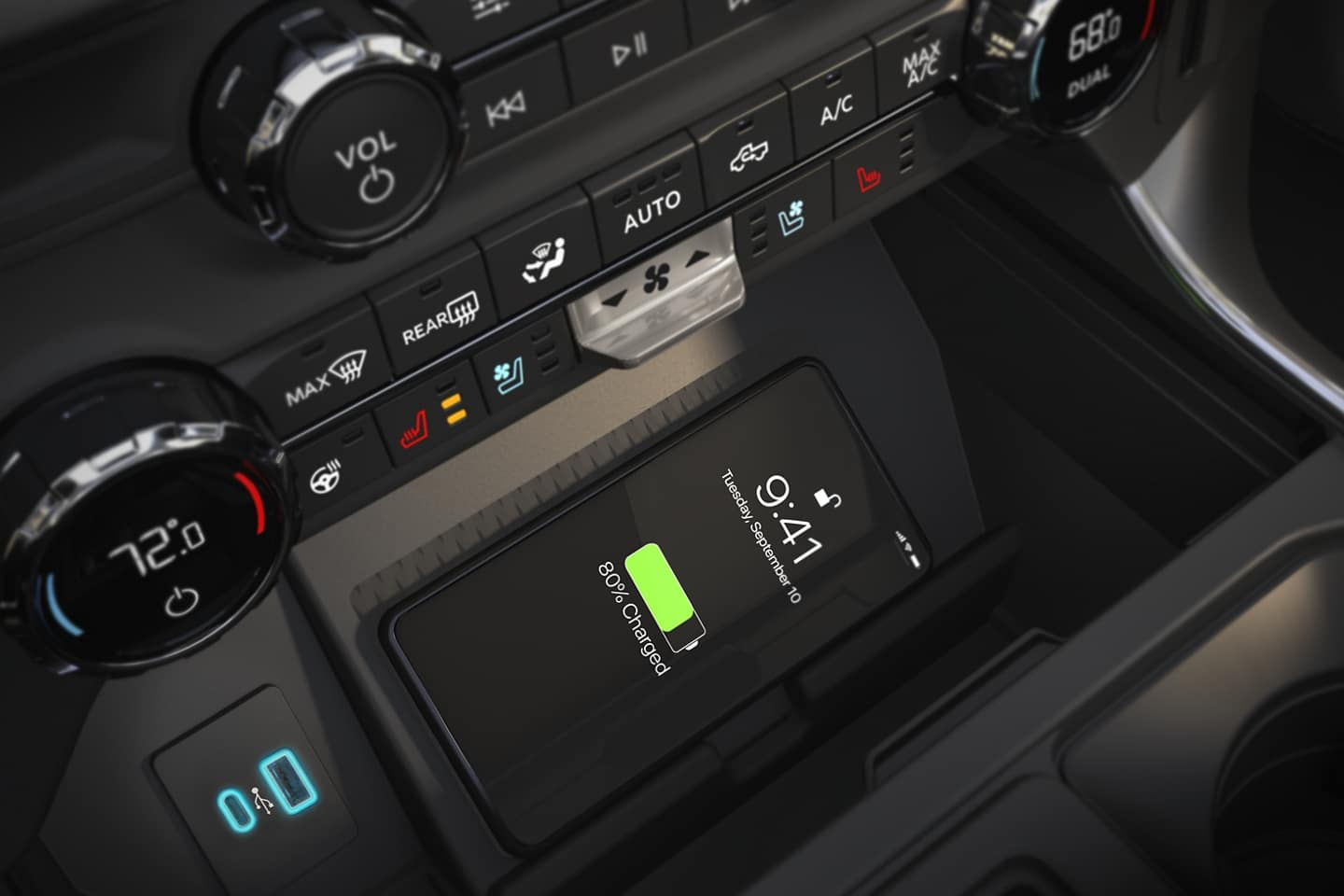 Charge your phone wirelessly with the New 2021 Ford F-150 console