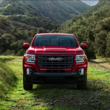 Frontal view of a Red 2021 GMC Canyon
