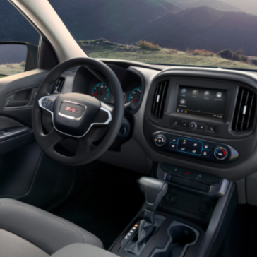 Interior view from the passenger's seat of a GMC Canyon released in 2021