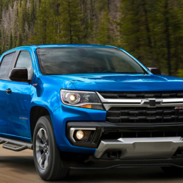 Picture of a bright blue 2021 Chevy Colorado