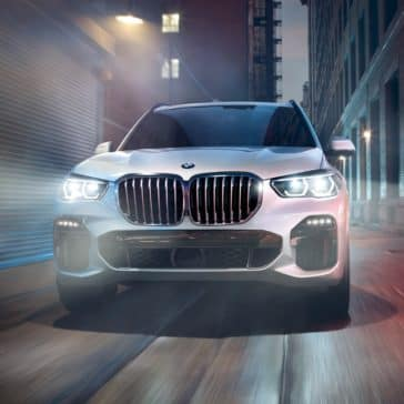 The new BMW X5 front grille at night time during a drive in Odessa, TX.