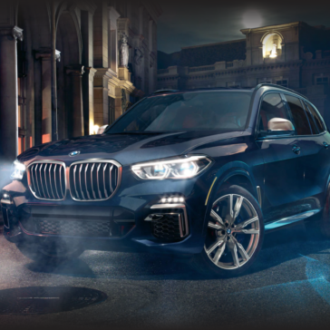 Exterior view of the new 2021 BMW X5 SUV available at Sewell BMW in Midland, TX.