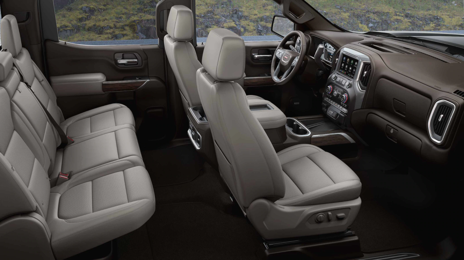 Side view of seating in the GMC Sierra