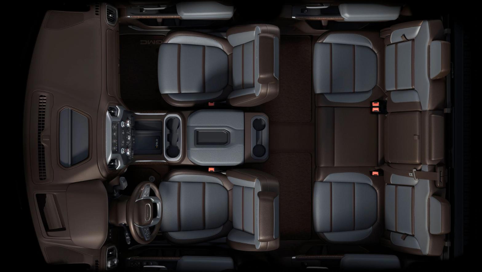 Bird's eye view of the 2020 GMC Sierra Truck interior