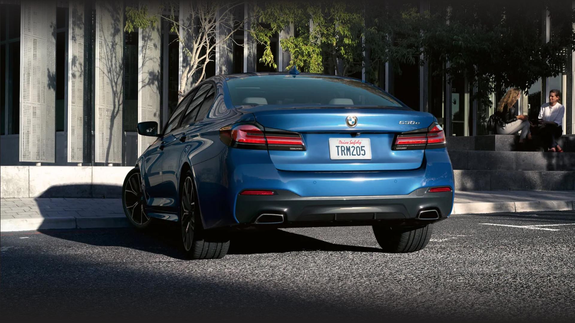 Rear view of the 2021 BMW 5 series luxury sedan