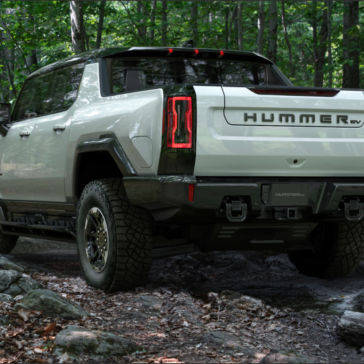 Rear view picture of the GMC Hummer truck bed