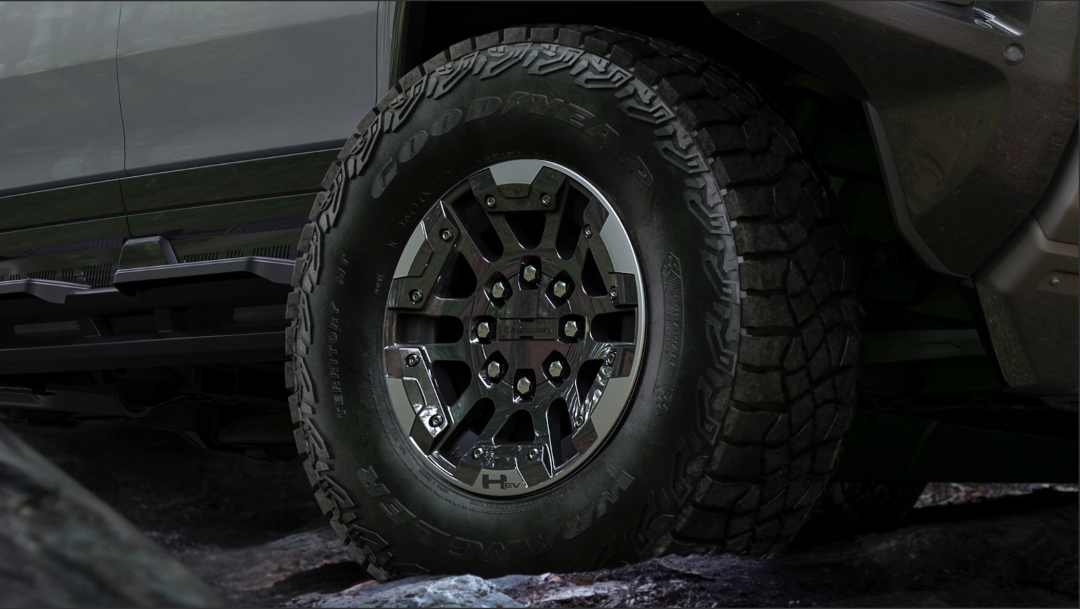 Picture of the New GMC tires that can go offroad