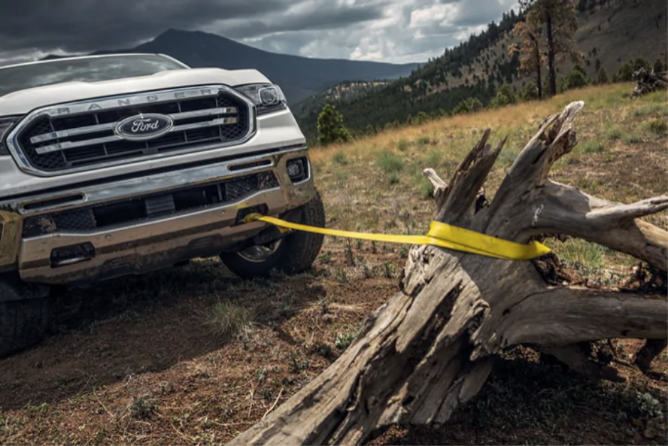 The New Ford Ranger has strong towing power and front towing attachment capabilities.