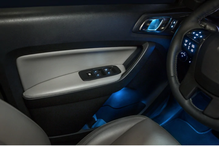 Interior photo of the New Ford Ranger's light up door handle.