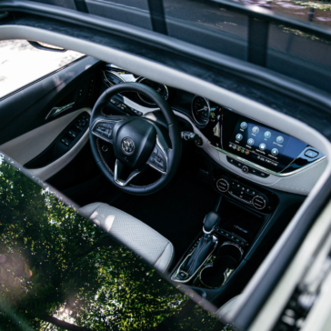 Overhead, interior view of the New Buick Encore