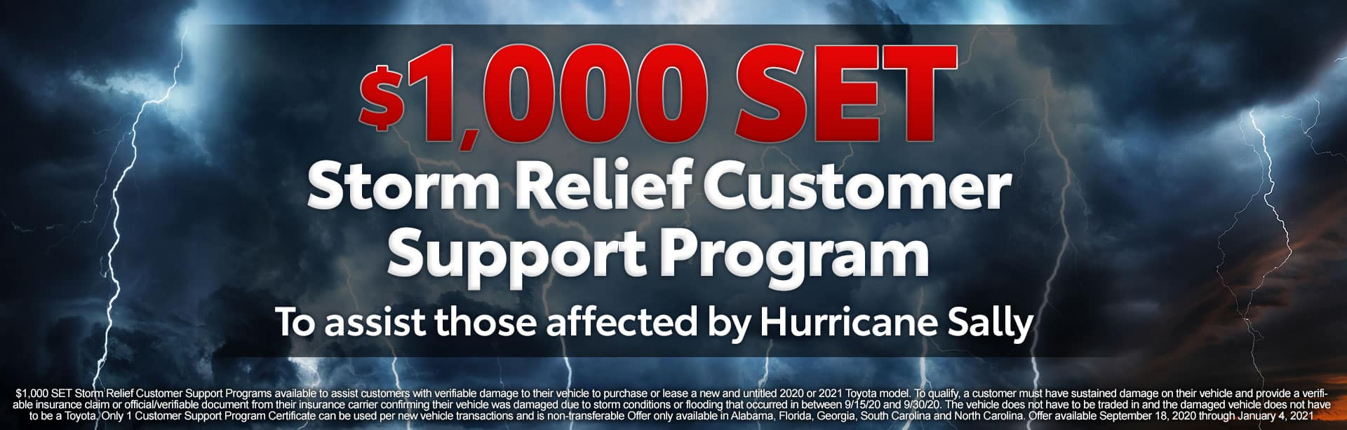 $1,000 SET Storm Relief Customer Support Program at Toyota of Fort Walton Beach!