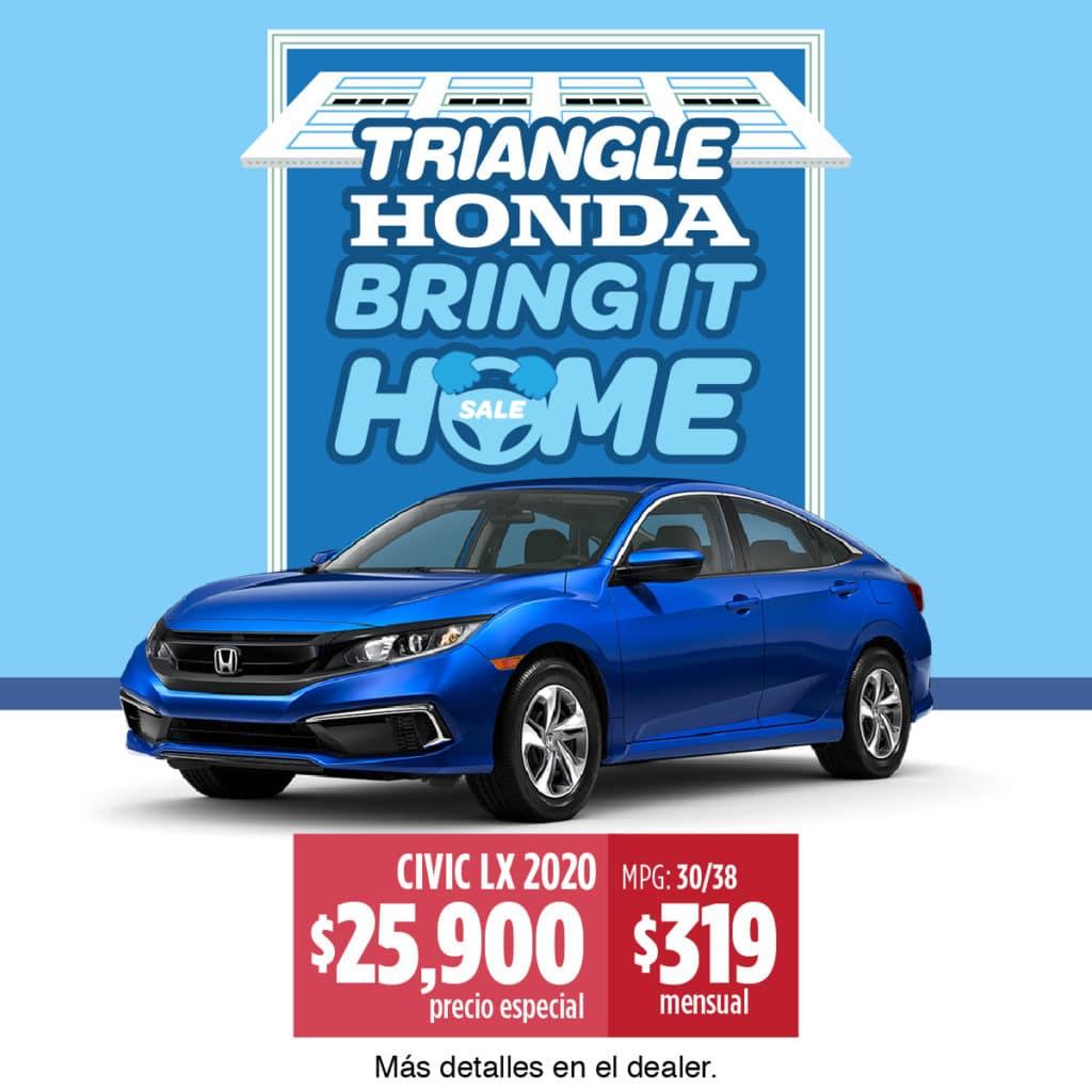 ¡¡¡Honda Civic 2020 LX $319 Mensual!!!
