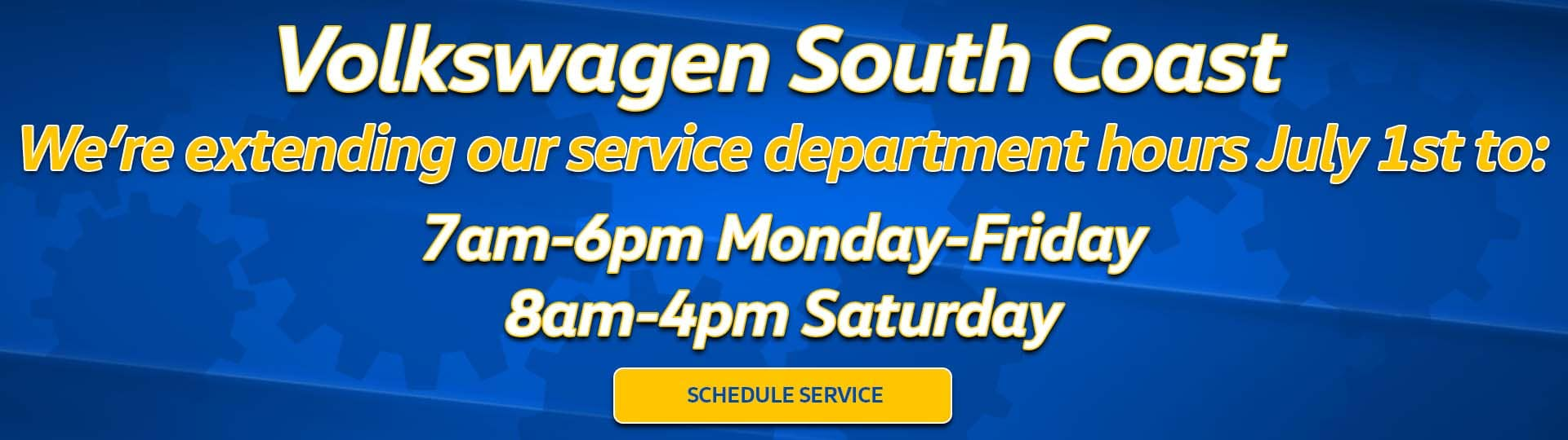 Volkswagen South Coast Service Department Hours Slide
